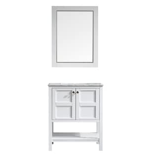 Vinnova Florence 30-inch White Single Vanity with Carrera White Marble Top, and Mirror