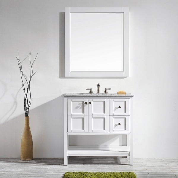 Vinnova Florence 36-inch White Single Vanity with Carrara White Marble Top, and Mirror