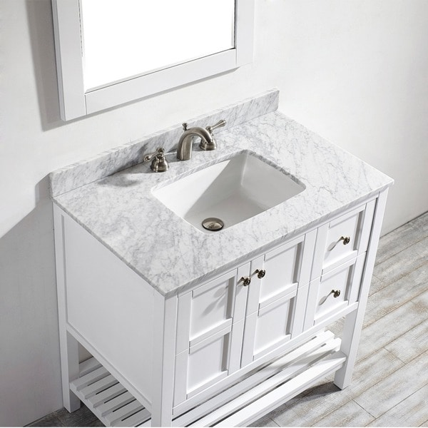 Charming 36 Inch White Vanity Part - 10: Vinnova Florence 36-inch White Single Vanity With Carrara White Marble Top,  And Mirror - Free Shipping Today - Overstock.com - 17412678