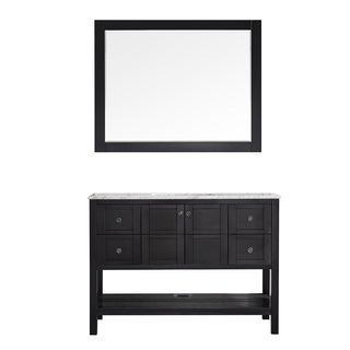 Vinnova Florence 48-inch Espresso Single Vanity with Carrara White Marble Top, and Mirror