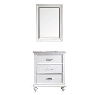 Vinnova Venice 30-inch White Single Vanity with Carrara White Marble Top, and Mirror