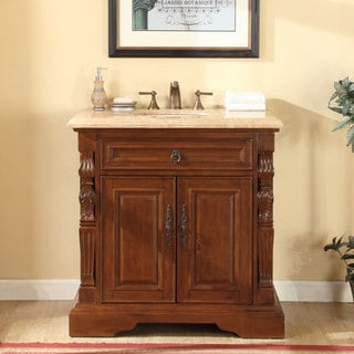 Silkroad Exclusive 36-inch Travertine Stone Top Bathroom Single Sink Vanity