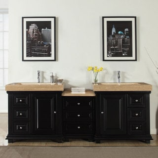 silkroad exclusive 90 inch integrated travertine stone sink modern bathroom double vanity