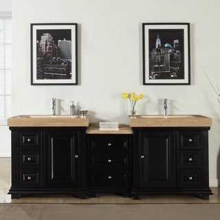 Silkroad Exclusive 90-inch Integrated Travertine Stone Sink Modern Bathroom Double Vanity