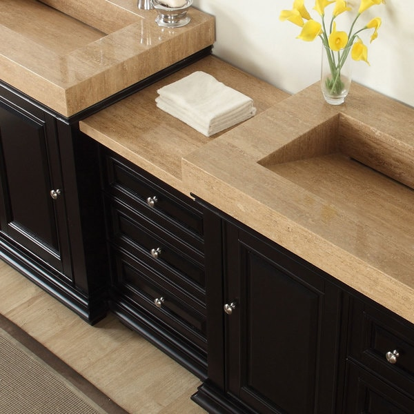 90 Inch Double Bathroom Vanity silkroad exclusive 90-inch integrated travertine stone sink modern