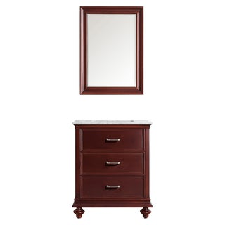 Vinnova Venice 30-inch Antique Cherry Single Vanity with Carrara White Marble Top, and Mirror