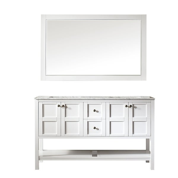 Vinnova Florence 60-inch White Double Vanity with Carrara White Marble Top, and Mirror
