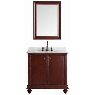 Vinnova Venice 36-inch Antique Cherry Single Vanity with Carrara White Marble Top, and Mirror