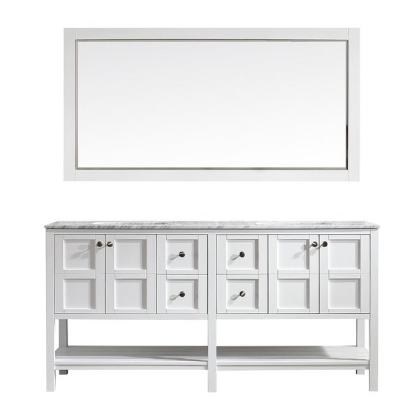 Vinnova Florence 72-inch White Double Vanity with Carrara White Marble Top, and Mirror