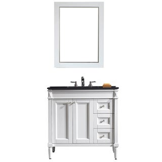 Vinnova Catania 36-inch White Single Vanity with Black Galaxy Granite Top, and Mirror