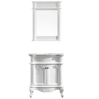 Vinnova Messina 30-inch Single Vanity in White with Carrara White Marble Top with Mirror