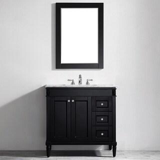 Vinnova Catania 36-inch Espresso Single Vanity with Carrara White Marble Top, and Mirror