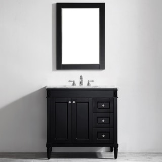 Vinnova Catania 36-inch Espresso Single Vanity with Carrara White Marble Top, and Mirror