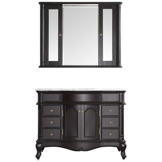 Marvelous Vinnova Messina 48 Inch Single Vanity In Espresso With Carrara White Marble  Top With Mirror