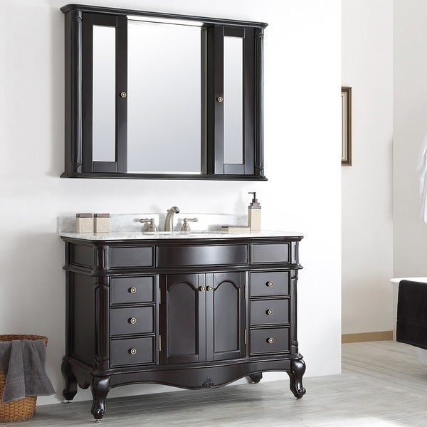 Vinnova Messina 48-inch Single Vanity in Espresso with Carrara White Marble Top with Mirror