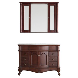 Vinnova Messina 48-inch Single Vanity in Antique Cherry with Carrara White Marble Top with Mirror