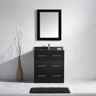 Vinnova Latina 30-inch Single Vanity in Espresso with Black Glaxy Granite Top with Mirror