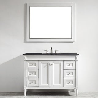 Vinnova Catania 48-inch White Single Vanity with Black Galaxy Marble Top, and Mirror