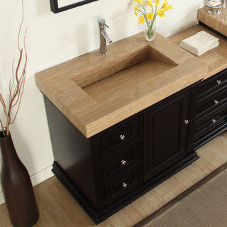 Silkroad Exclusive 55.5-inch Integrated Travertine Sink Bathroom Single Vanity with Drain on the Right