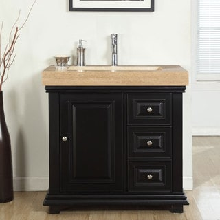 Silkroad Exclusive 36-inch Integrated Travertine Sink Bathroom Single Vanity with Drain on the Left