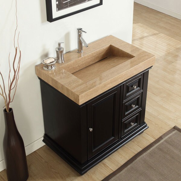 Silkroad Exclusive 36 Inch Integrated Travertine Sink Bathroom Single Vanity With Drain On The