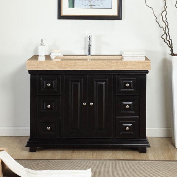 single sink bathroom vanity. Silkroad Exclusive 48 inch Integrated Travertine Stone Single Sink Bathroom  Vanity