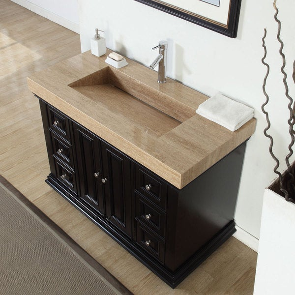 Travertine Bathroom Sinks : Silkroad Exclusive 48-inch Integrated Travertine Stone Sink Bathroom ...