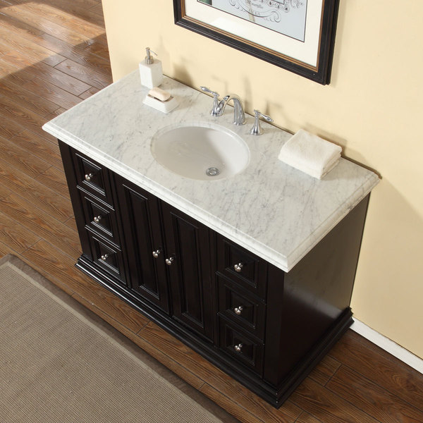 Silkroad Exclusive 48-inch Carrara White Marble Stone Top ...