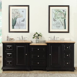 Silkroad Exclusive 90.5-inch Travertine Stone Top Bathroom Double Sink Modular Vanity