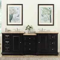 Silkroad Exclusive 90.5-inch Travertine Stone Top Bathroom Double Sink Modular Vanity - White