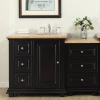 Silkroad Exclusive 56-inch Travertine Stone Top  Bathroom Single Modular Vanity with Sink on the Right - White