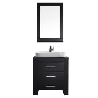 Vinnova Pascara 30-inch Espresso Single Vanity with White Drop-in Porcelain Vessel, and Mirror