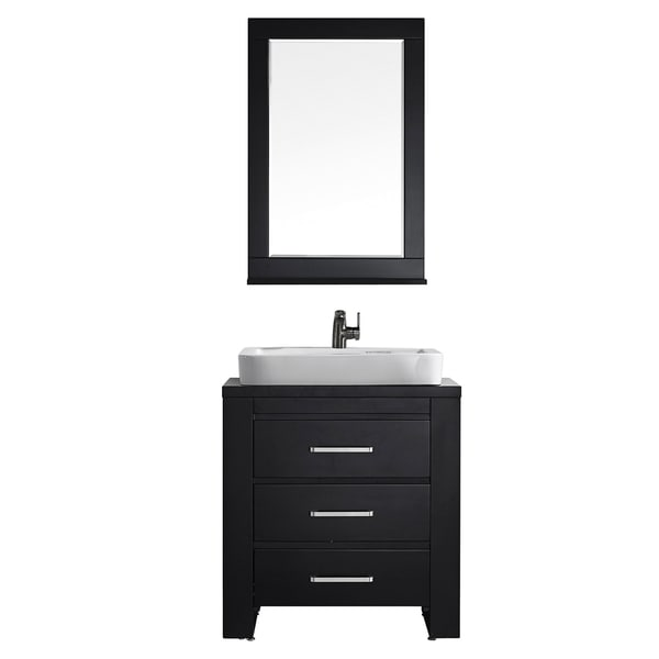 Vinnova Pascara 30 Inch Espresso Single Vanity With White Drop In Porcelain Vessel And Mirror