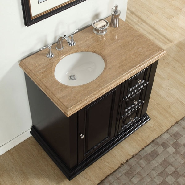 Silkroad Exclusive 36 Inch Travertine Stone Top Bathroom Single Vanity With Sink On The Left