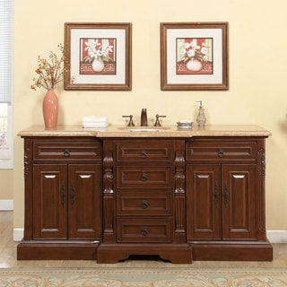 Silkroad Exclusive 72-inch Travertine Stone Top Large Single Sink Bathroom Vanity