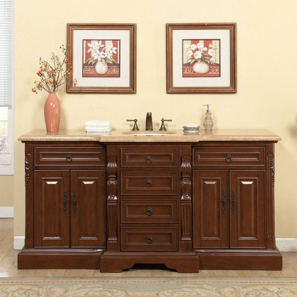 Large Single Sink Vanity : ... 57-inch Walnut Travertine Stone Top Single-sink Bathroom Vanity