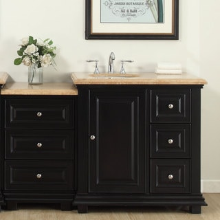 Silkroad Exclusive 56-inch Travertine Stone Top  Bathroom Single Modular Vanity with Sink on the Left