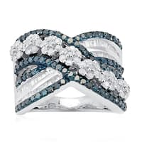 Sterling Silver 1 1/2ct TDW Blue and White Diamond Multi Row Ring
