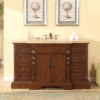 Silkroad Exclusive 60-inch Travertine Stone Top Bathroom Single Sink Vanity