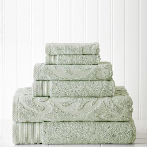 Modern Threads 6-piece Jacquard/Solid Medallion Swirl Towel Set