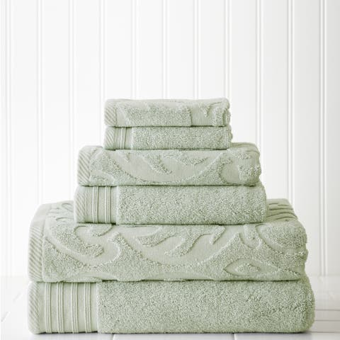 Amraupur Overseas 6-piece Jacquard/Solid Medallion Swirl Towel Set