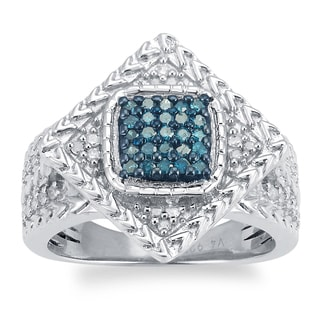 Sterling Silver 1/2ct TDW Blue and White Diamond Square Ring