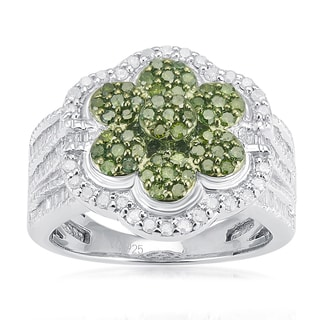 Sterling Silver 1 1/4ct TDW Green and White Diamond Flower Ring (H-I, I2-I3)