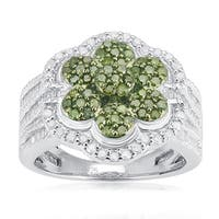Sterling Silver 1 1/4ct TDW Green and White Diamond Flower Ring