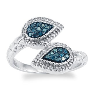 Sterling Silver 1/4ct TDW Blue and White Diamond Ring