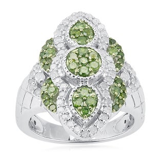 Sterling Silver 1ct TDW Green and White Diamond Ring (H-I, I2-I3)