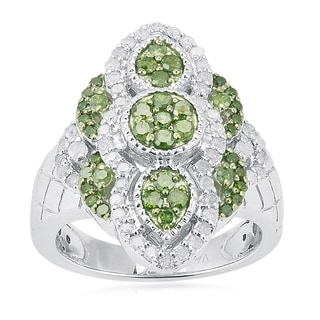 Sterling Silver 1.00ct TDW Green and White Diamond Ring (H-I, I2-I3)