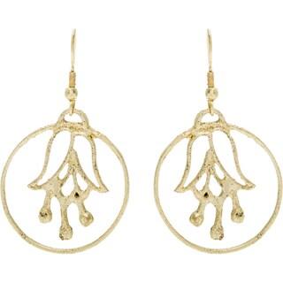 Handmade Women's Gold-tone Flower in Hoop Earrings (India)