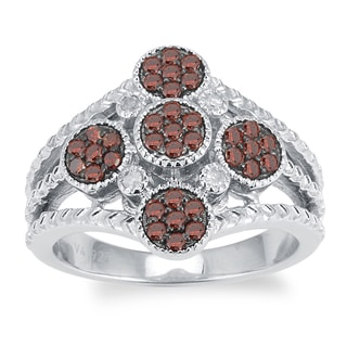 Sterling Silver 1/2ct TDW Red and White Diamond Fashion Ring (H-I, I2-I3)