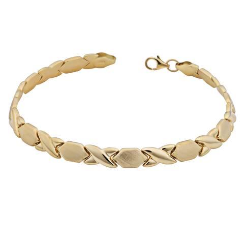 Fremada 14k Yellow Gold Satin and Polish 'XO' Hugs and Kisses Bracelet